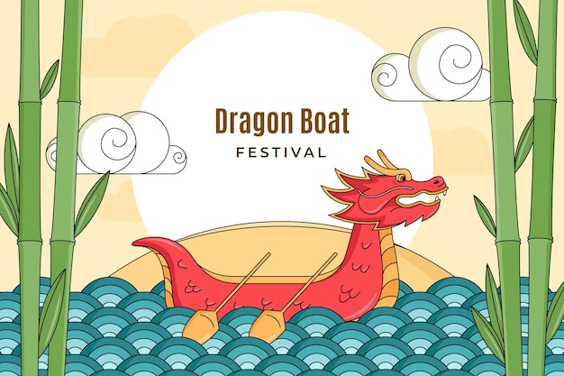 Ręcznie rysowane tła smoczej łodzi