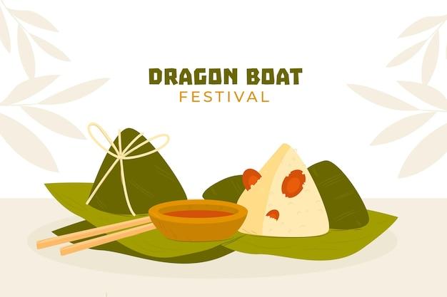 Ręcznie rysowane tła smoczych łodzi zongzi
