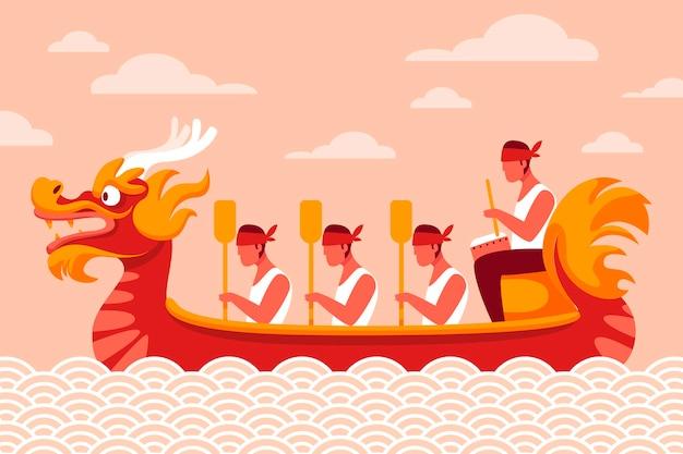Ręcznie rysowane tła smoczych łodzi