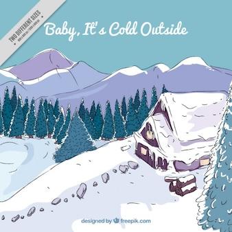 Ręcznie rysowane tła śnieżny krajobraz kabiny