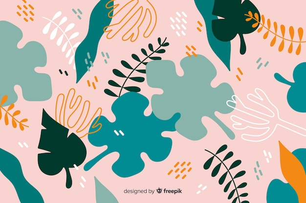 Ręcznie rysowane tła streszczenie roślin tropikalnych
