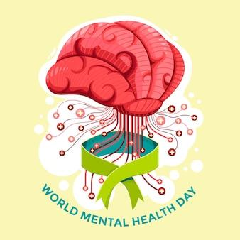 Ręcznie rysowane tła światowego dnia zdrowia psychicznego