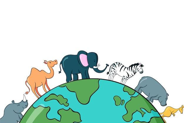 Ręcznie rysowane tła światowego dnia zwierząt