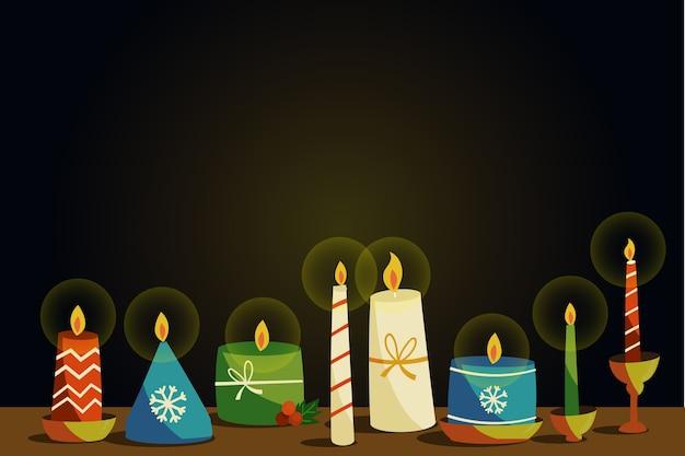 Ręcznie rysowane tła świeca boże narodzenie
