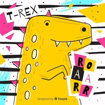 Ręcznie rysowane tła t-rex