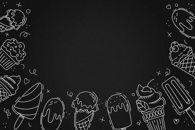 Ręcznie rysowane tła tablicy lodów