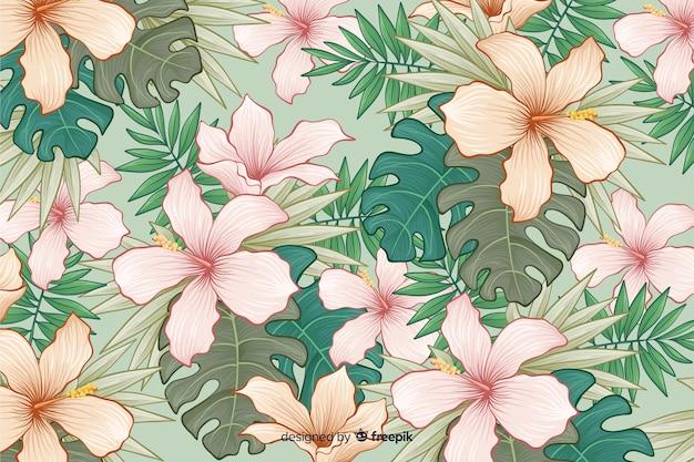 Ręcznie rysowane tła tropikalnych kwiatów