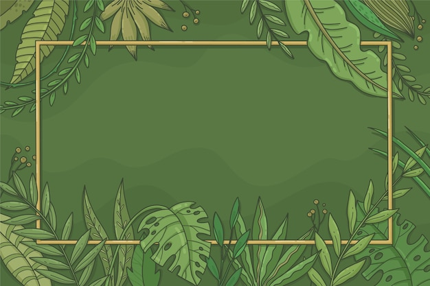 Ręcznie rysowane tła tropikalnych liści