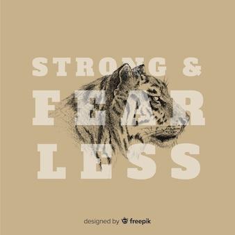Ręcznie rysowane tła tygrysa z hasłem