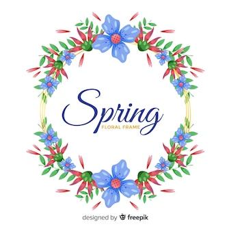 Ręcznie rysowane tła wieniec kwiatowy wiosną