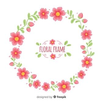 Ręcznie rysowane tła wieniec kwiatowy