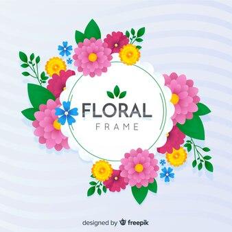 Ręcznie rysowane tła wiosna kwiatów ramki