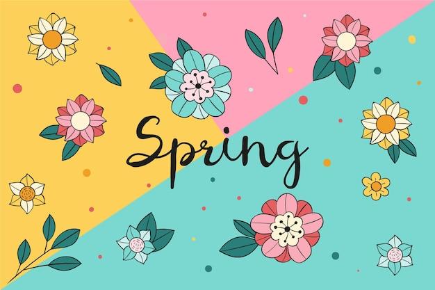 Ręcznie rysowane tła wiosna z kwiatami