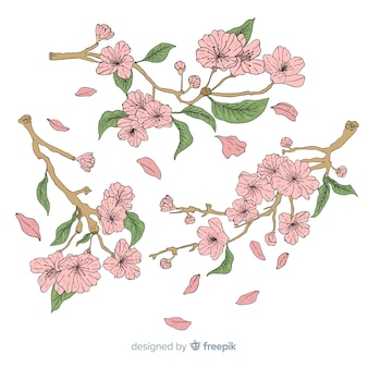 Ręcznie rysowane tła wiśni