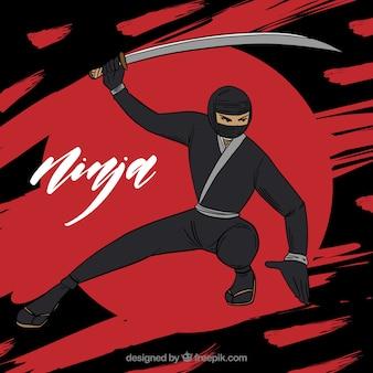 Ręcznie Rysowane Tła Wojownik Ninja Darmowych Wektorów