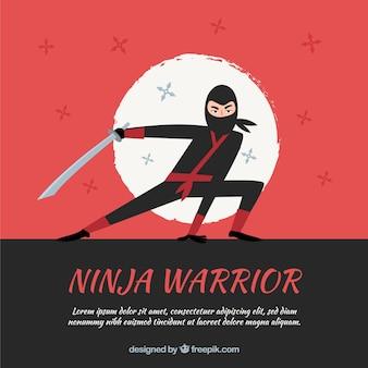 Ręcznie rysowane tła wojownik ninja