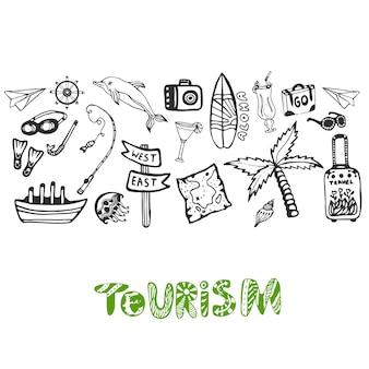Ręcznie rysowane tła z elementami wakacji letnich. turystyki wektorowa tapeta z doodle podpisuje kolekcję