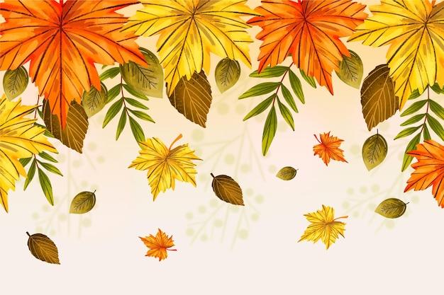 Ręcznie rysowane tła z jesiennych liści i pustej przestrzeni