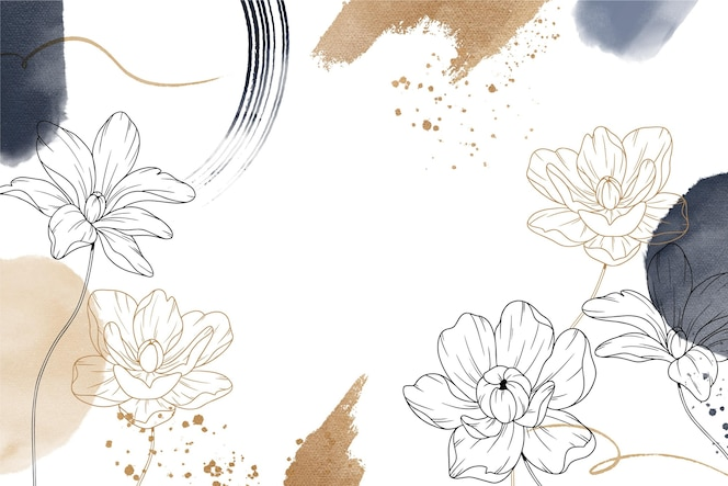 Ręcznie rysowane tła z kwiatami