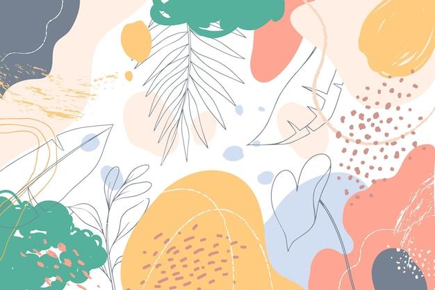 Ręcznie rysowane tła z liśćmi
