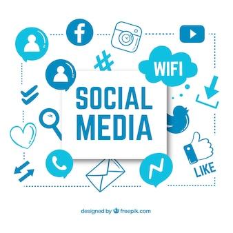 Ręcznie rysowane tła z mediów społecznościowych ikony