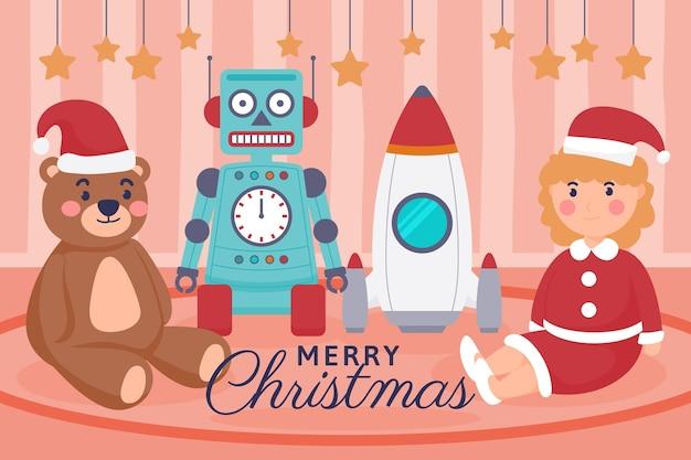 Ręcznie rysowane tła zabawek świątecznych