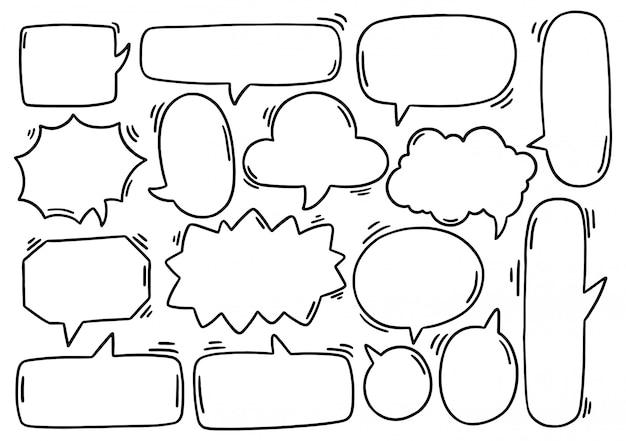 Ręcznie rysowane tła zestaw ładny dymek eith tekst w stylu bazgroły