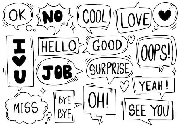 Ręcznie rysowane tła zestaw ładny mowy bańka eith tekst w stylu bazgroły