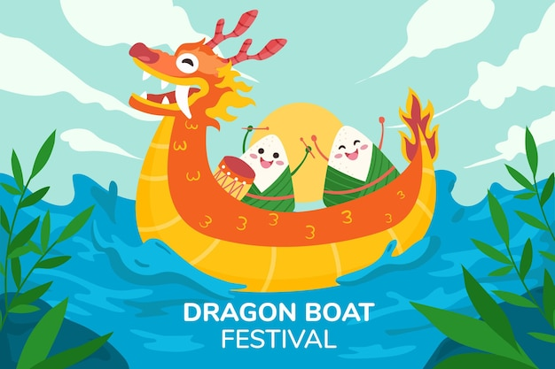 Ręcznie rysowane tła zongzi smoczej łodzi