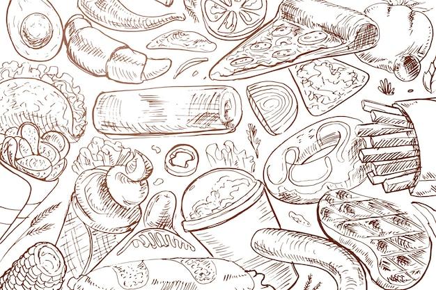Ręcznie rysowane tła żywności