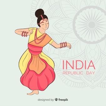 Ręcznie rysowane tle dzień republiki indii