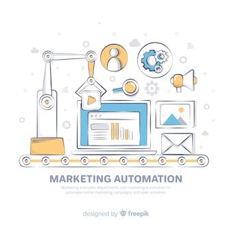 Ręcznie rysowane tło automatyzacji marketingu