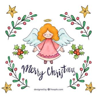 Ręcznie rysowane tło boże narodzenie anioł