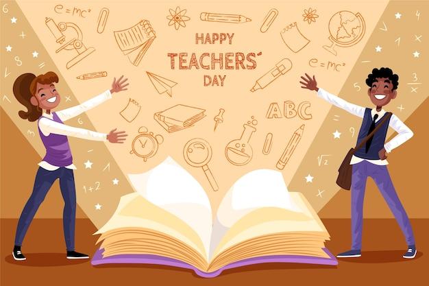 Ręcznie rysowane tło dnia nauczyciela