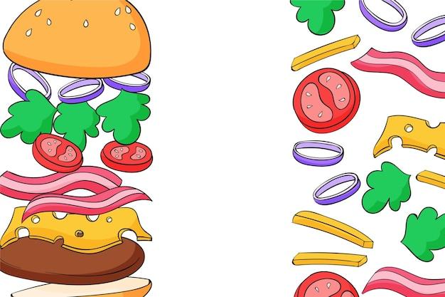Ręcznie rysowane tło fast food