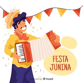 Ręcznie rysowane tło festa junina