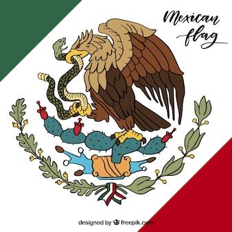 Ręcznie rysowane tło flaga meksyku