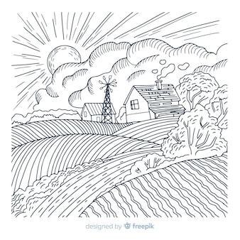 Ręcznie rysowane tło krajobraz gospodarstwa