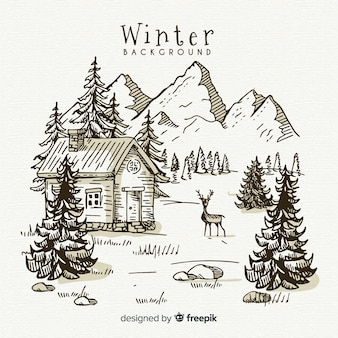 Ręcznie rysowane tło krajobraz zimowy