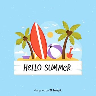 Ręcznie rysowane tło lato plaża