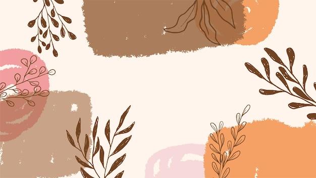 Ręcznie rysowane tło liści w pastelowych kolorach