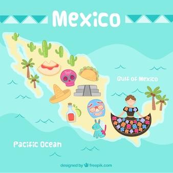 Ręcznie rysowane tło mapy meksyku