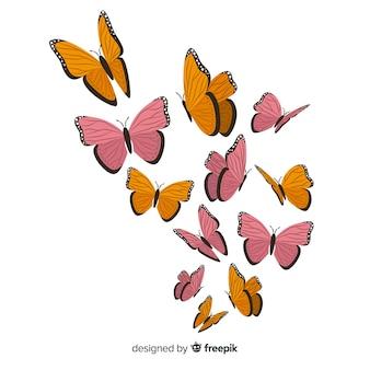 Ręcznie rysowane tło motyl