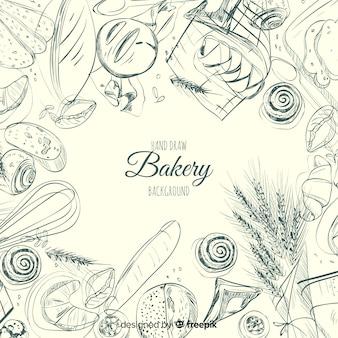 Ręcznie rysowane tło piekarnia