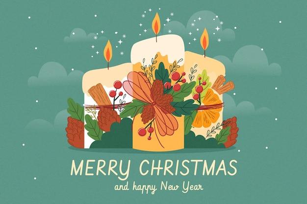 Ręcznie rysowane tło świeca bożego narodzenia tło świeczki świąteczne z kwiatami