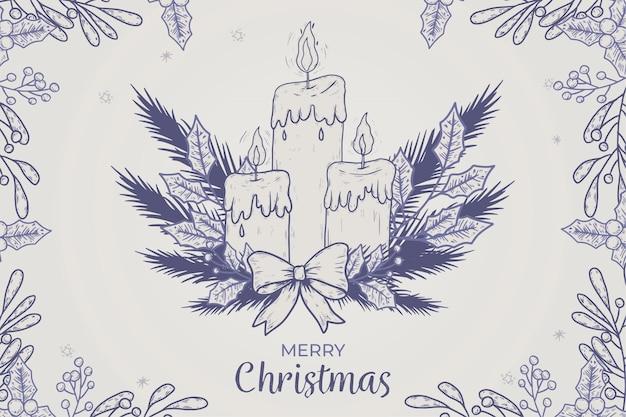 Ręcznie rysowane tło świeca bożego narodzenia
