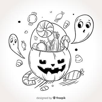 Ręcznie rysowane tło torba cukierków halloween