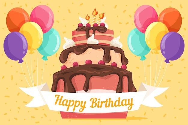 Ręcznie rysowane tło urodziny z ciastem