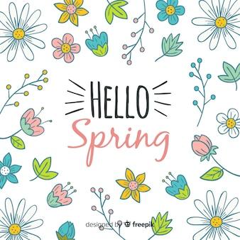 Ręcznie rysowane tło wiosna kwiatów