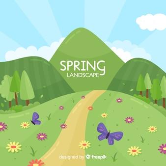 Ręcznie rysowane tło wiosna wzgórze